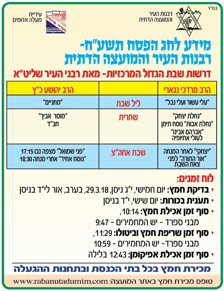 Ma'ale Adumim Pesach Times
